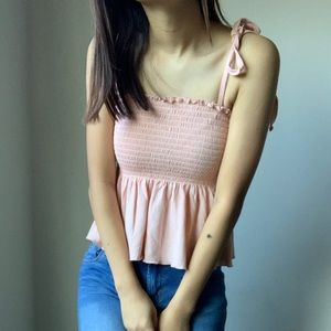 Forever 21 Tops - Light Pink Ruffle Tied Up Tank Top